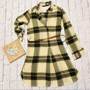 Zara Plaid Flannel Shirt Dress With Cute Belt